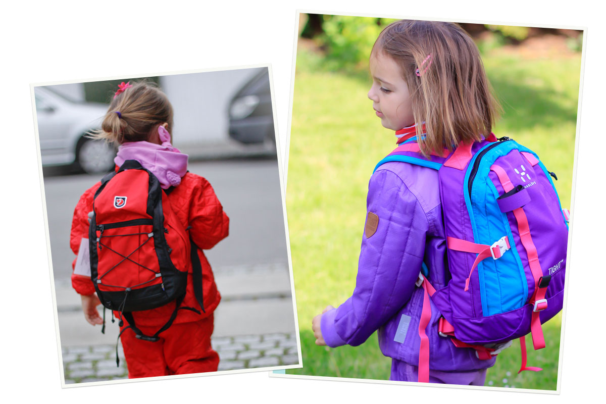 Backpacks are essential gear for toddlers in forest school in Denmark.