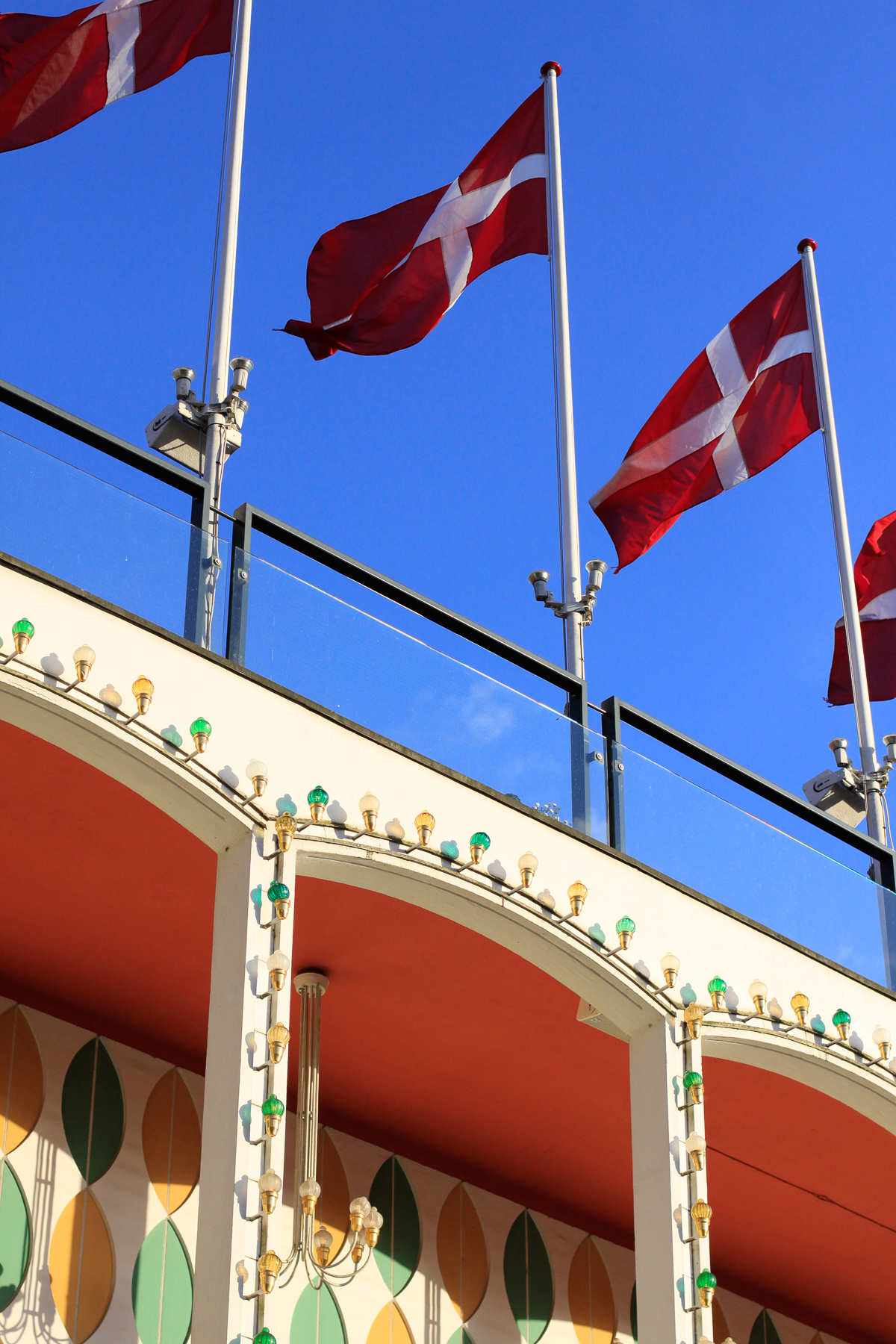 Danish Flags at Copenhagen's Tivoli Gardens for Constitution Day in Denmark.