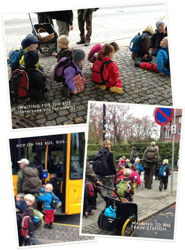 Transportation for toddlers on their way to forest school - they ride the bus and take the train!