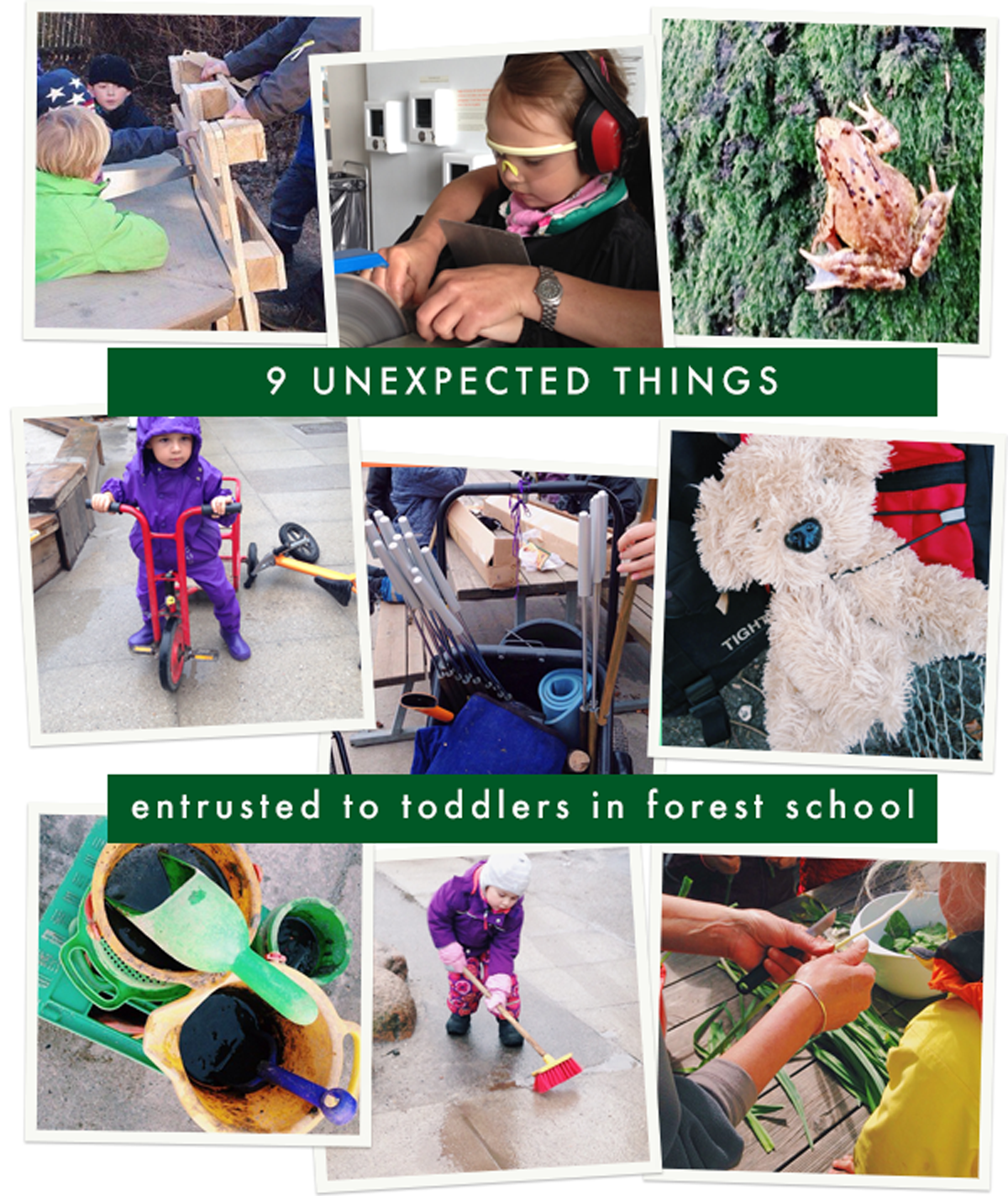 Unexpected ways to play for toddlers in forest schools in Denmark.
