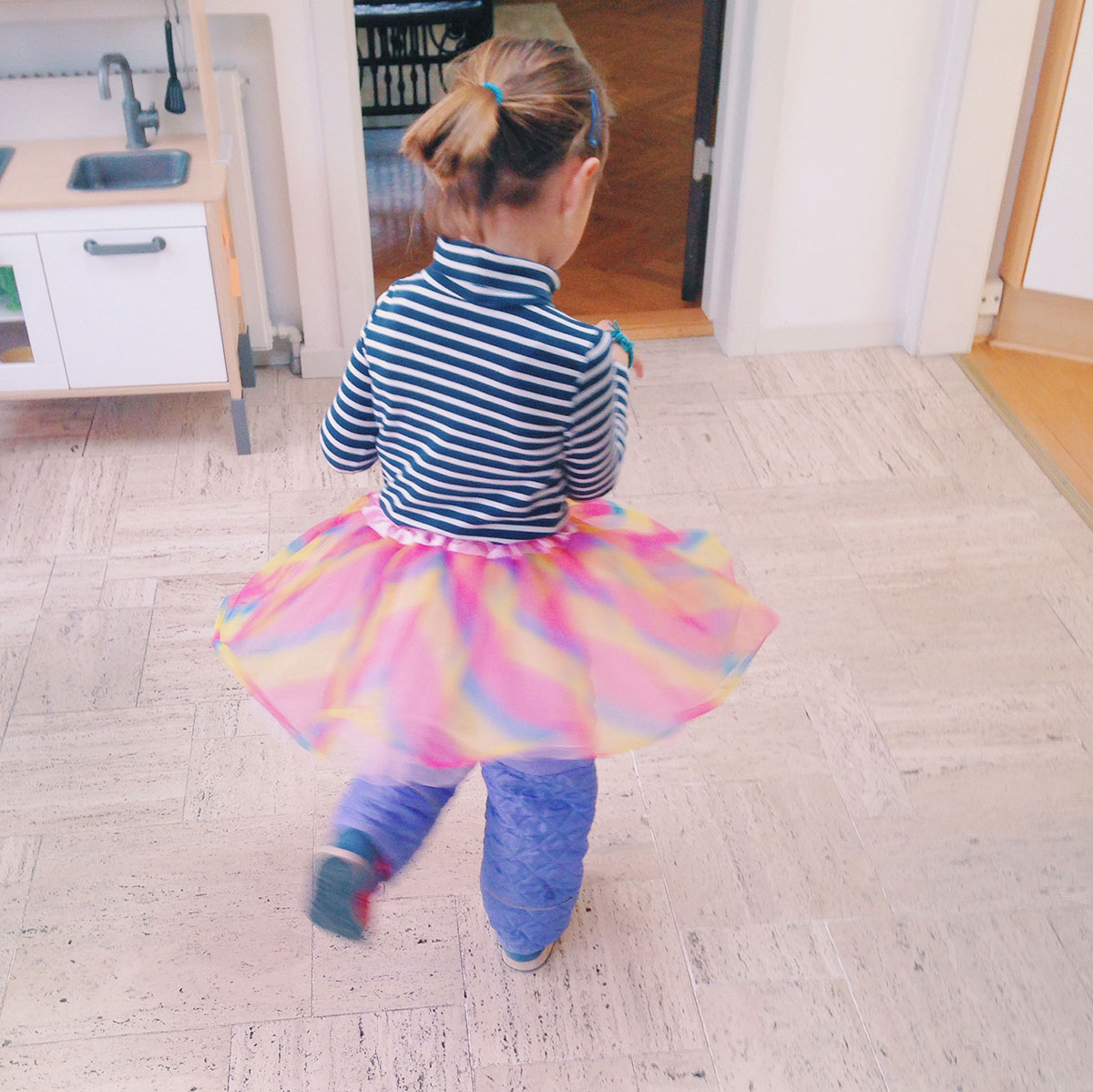 Toddlers and tutus and princesses at forest school in Denmark.