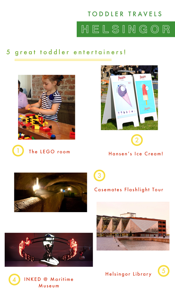 A short list of attractions for toddlers and children alike in Helsingor, a popular day trip from Copenhagen, Denmark.