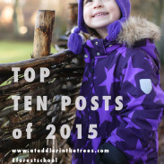 The Top Ten posts of 2015 related to forest school, getting outside and our adventures in Denmark and beyond from the A Toddler in the Trees blog.