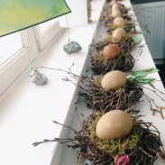 Easter outdoor crafts at the forest school and outdoor kindergarten in Copenhagen, Denmark.