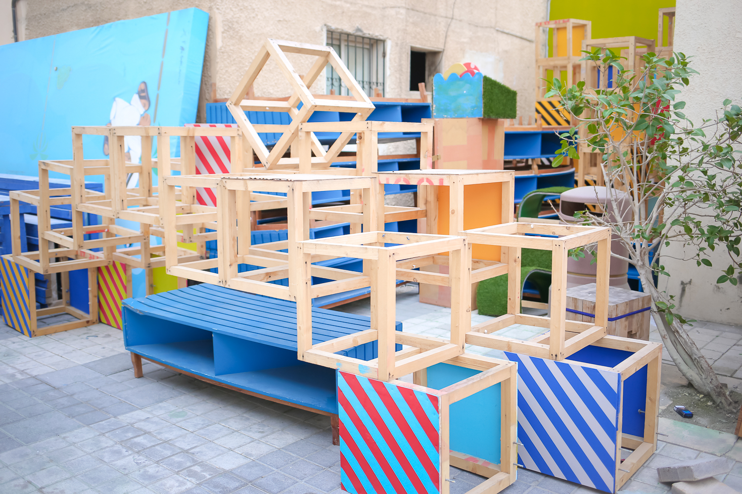 Public art and play space in the Adliya District of Manama, Bahrain.